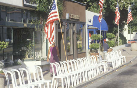 Empty Chairs Lining Street, Ojai, California