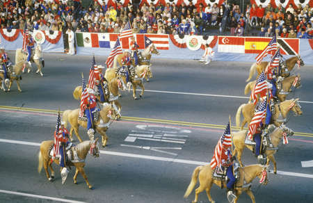 rose bowl parade: Horses in Rose Bowl Parade, Pasadena, California Editorial