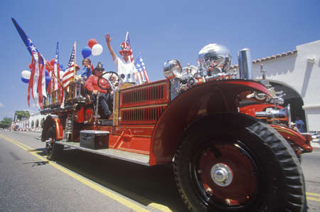 antique fire truck: Antique Fire Truck in July 4th Parade, Ojai, California