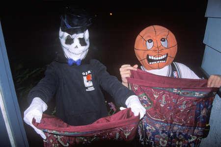 Children trick or treating on Halloween, Ojai, California Editorial
