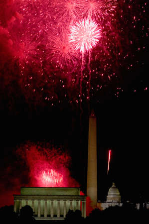 Fourth of July celebration with fireworks exploding over the Lincoln Memorial, Washington Monument and U.S. Capitol, Washington D.C. Stock Photo - 20474419