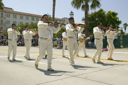 Mexican musicians during opening day parade down State Street, Santa Barbara, Old Spanish Days Fiesta, August 3-7, 2005 Stock Photo - 20474431