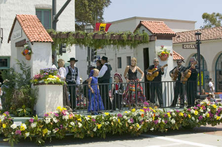 spaniards: Mariachi Band playing on parade float during opening day parade down State Street, Santa Barbara, CA, Old Spanish Days Fiesta, August 3-7, 2005