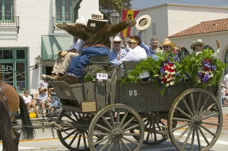 spaniards: Stagecoach during opening day parade down State Street, Santa Barbara, CA, Old Spanish Days Fiesta, August 3-7, 2005 Editorial
