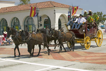 Stagecoach during opening day parade down State Street, Santa Barbara, CA, Old Spanish Days Fiesta, August 3-7, 2005 Editorial