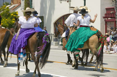 spaniards: Opening day parade down State Street, Santa Barbara, CA, Old Spanish Days Fiesta, August 3-7, 2005