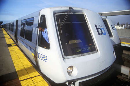 rapid: The San Francisco Bay Area Rapid Transit train, commonly referred to as BART, carries commuters to its next destination