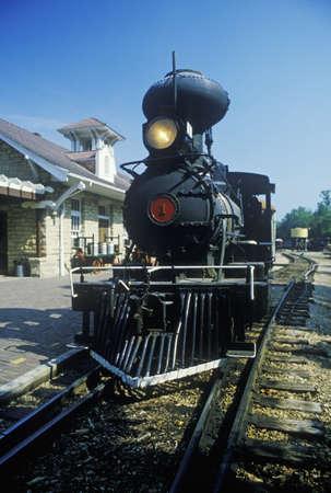 A steam engine at a train station in Eureka Springs, Arkansas