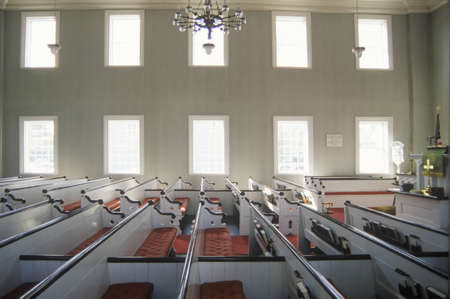 pews: The interior of a church in New England