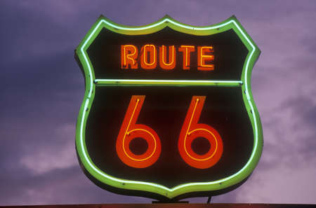 barstow: A neon sign reading Route 66 in Barstow, California