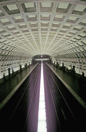 subway platform: An underground subway platform for the Metro Rail mass transit system in Washington, D.C.