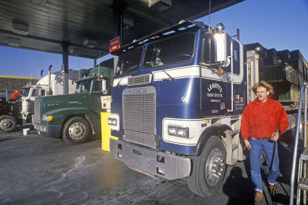 fueling: A truck stop in Mojave, California