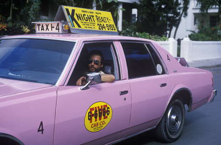 A pink taxi cab in Key West, Florida