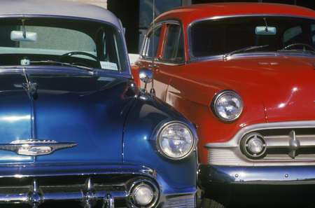 north hollywood: A blue and red antique car in Hollywood, California