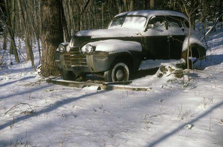 abandoned car: A junk car in Woodstock New York  Editorial