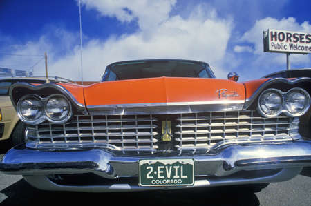 license plate: 2-Evil License Plate on 1957 Plymouth
