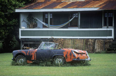 junked: A junk sports car decaying in Hawaii