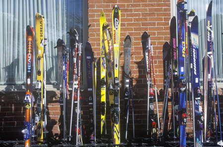 Line of skis at Jerome Hotel, Aspen, Colorado Editorial