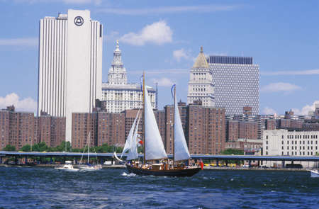 The class B tall ships sailing from Wall Street, Manhattan to the Brooklyn Bridge, New York