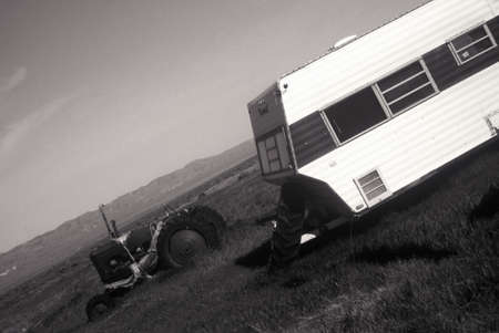roughing: A trailer and tractor in the California desert