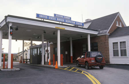 A vehicle approaches the border inspection station at Richford, Vermont on the way across the border between Canada and the U.S.