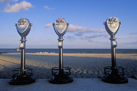 Three stationary viewers for tourists in Cape May, New Jersey