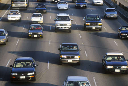 Rush hour traffic on the San Diego 405 Freeway in Los Angeles, California