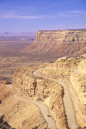 switchback: The switchback dirt road to Mule Point near Gooseneck State Park in Utah