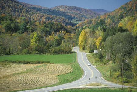 An open road on scenic Route 100 near Stockbridge, Vermont Editorial