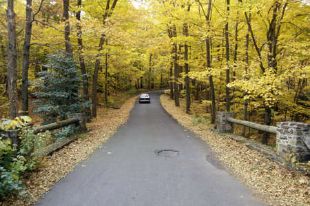 countryside landscape: A car traveling on scenic Route 29 in New Jersey Editorial