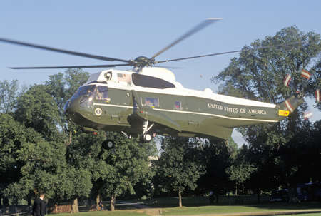 helicopter pad: The Presidential helicopter taking off in Washington, D.C.