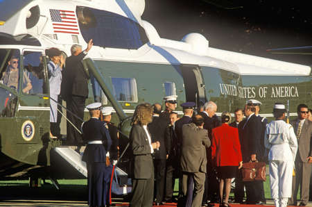Boris Yeltsin departing Washington, D.C. in a helicopter