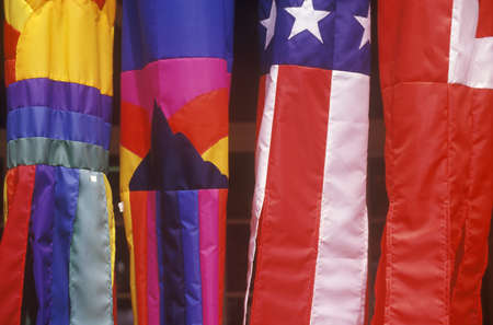 Closeup of colorful kites; one is the American flag in Kauai, Hawaii