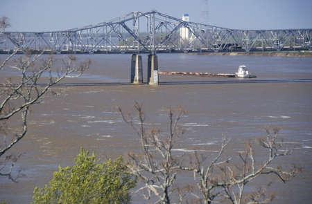 mississippi river: A barge in the Mississippi River in Vicksburg, Mississippi
