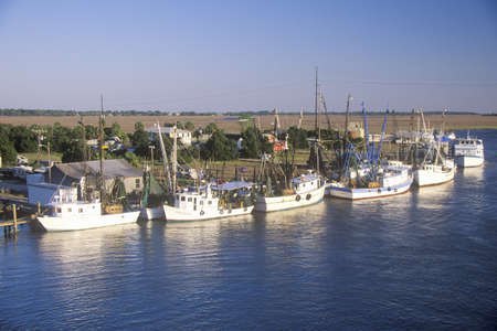 A line of shrimp fishing boats in the Intercoastal Waterway in Northern Carolina