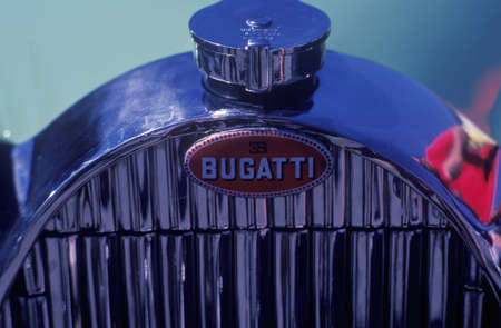 grille: A polished chrome grille of a vintage Bugatti automobile at the Laguna Seca Classic Car Show in Carmel, CA Editorial