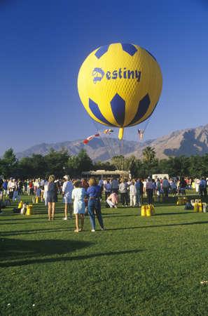 bennett: A balloon in flight during the Gordon Bennett Balloon Race at Palm Springs, California