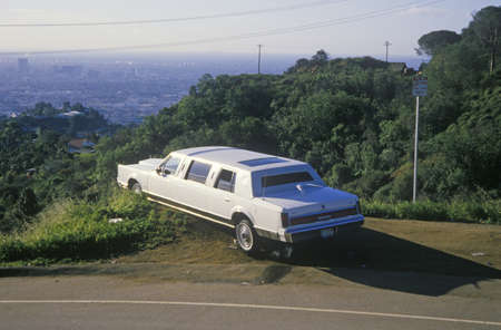 A white limo parked on Mulholland Drive, Los Angeles, California