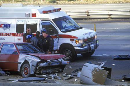 motor officer: An accident on the freeway near San Francisco, California