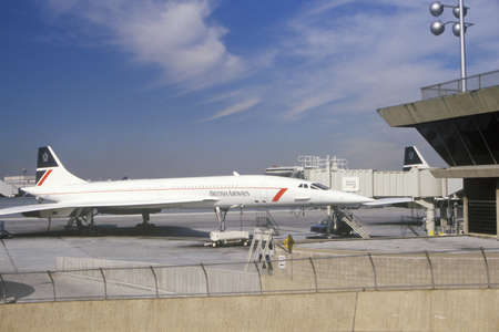concorde: British Airways Supersonic Concorde jet at Kennedy Airport, New York  Editorial