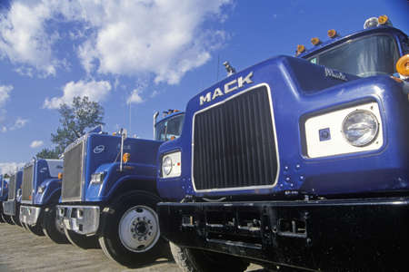 mack: A line up of Mack trucks