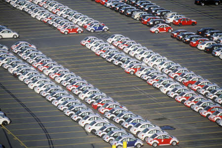 Imported Volkswagen Beetle automobiles in a parking lot in Boston, Massachusetts