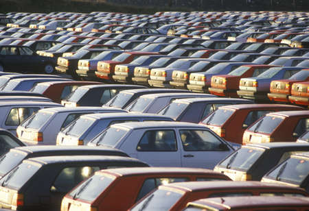 A parking lot of imported cars in Nova Scotia