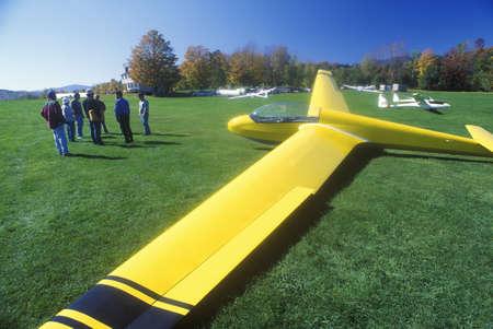 warren: An aerial glider parked on a lawn in Warren, Vermont in autumn