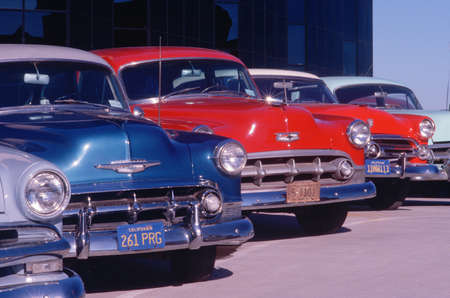north hollywood: A row of ca. 1950s automobiles in mint condition, Hollywood, California Editorial