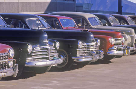burbank: A row of classic cars for the movies in Burbank, California Editorial