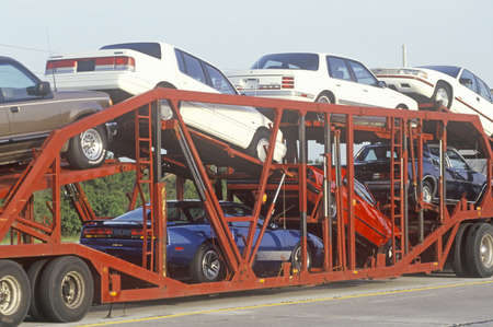 transported: American cars being transported to the marketplace