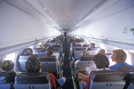 Passengers from the rear of the airplane