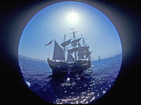 distort: The Bounty sailing at the Olympic Art Festival in Redondo Beach, California