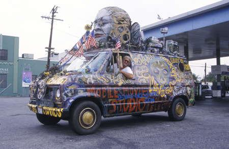 Van converted into a decorated mobile movie studio, California